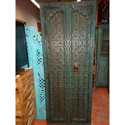 Turquoise cupboard doors with arch in 77 cm
