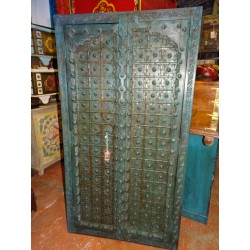 Turquoise cupboard doors with arch in 92 cm