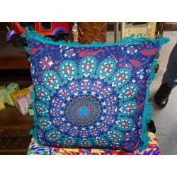 Ultramarine color cushion covers 40x40 cm with turquoise fringes