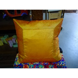 cushion cover 40x40 orange taffeta with brocade edge