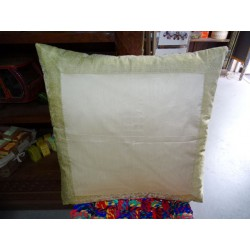 60x60 pillow cover in dark green taffeta and brocade edge