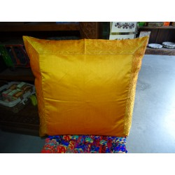 pillow cover 60x60 in orange taffeta and brocade edge
