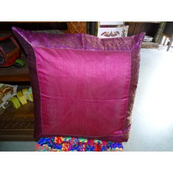 pillow cover 60x60 in fuchsia taffeta and brocade edge