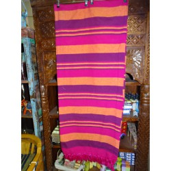 Indian bed cover KERALA in fuchsia, purple and orange color