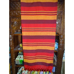 Indian KERALA bedspread in brown, red and orange colors