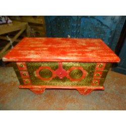Red mango wood chest with brass trims