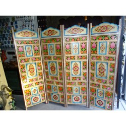 Carved flowers painted folding screen.