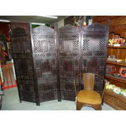 Screen carved flowers with dark wood patina 180x200 cm