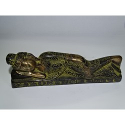 Reclining Buddha in black bronze with green patina
