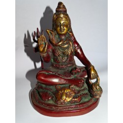 Statue of Shiva in bronze with brown patina