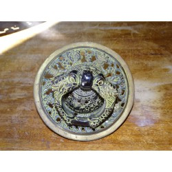 Tibetan temple door handle 16 cm with black and gold patina