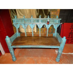 Old teak bench in southern India patinated in turquoise