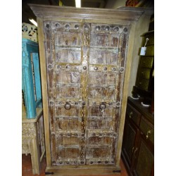 Large wardrobe with old sanded white patinated doors 98 wide