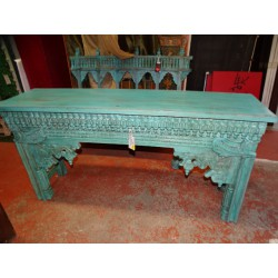 Old Indian console carved and patinated in turquoise color