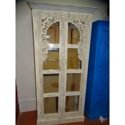 White glass cabinet library.
