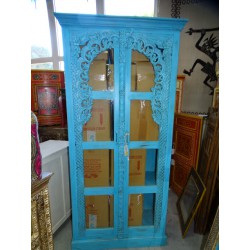 Library cabinet with turquoise patinated glass arch
