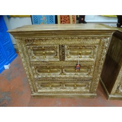 Chest of 4 drawers decorated with brass fittings 100x40x96 cm