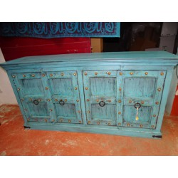 Large patinated turquoise buffet with 4 old doors