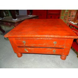 Coffee Table squaree 4 drawers Red