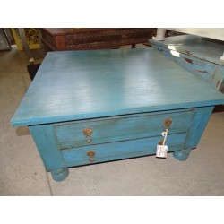 Square 4 drawers coffee table with dark turquoise patina