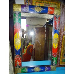 Rectangular mirror with relief painting and rounded 90x60 cm