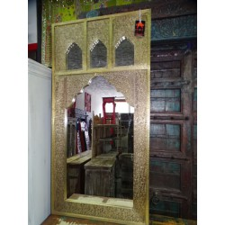 Rectangular golden mirror with 3 locations for photos 120x60 cm
