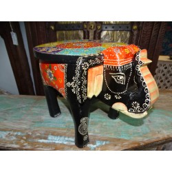 Stool with black and multicolored elephant 50x34x 36 cm high