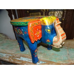 Stool with turquoise and multicolored elephant 50x34x 36 cm high