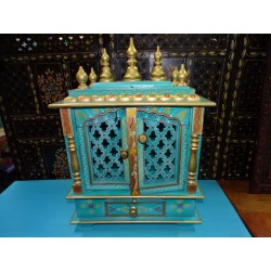Turquoise and golden indoor temple for pujas - MM