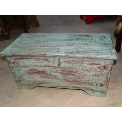Old Indian chest in turquoise color 80x40x40 cm