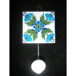ceramic hook 8x8 cm 5 turquoise and white flowers