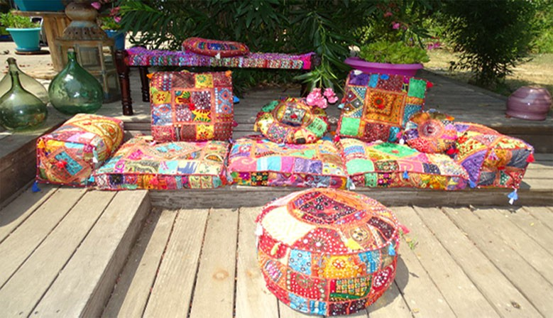 Indian cushions and poufs in recycled textiles